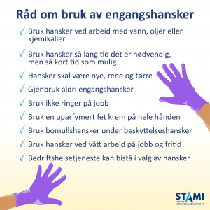 Plakat av råd om bruk av engangshansker til nedlasting