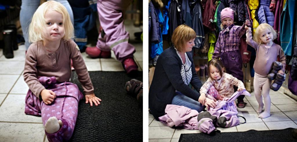 Bilde av Jane Melbye som kler på barn.